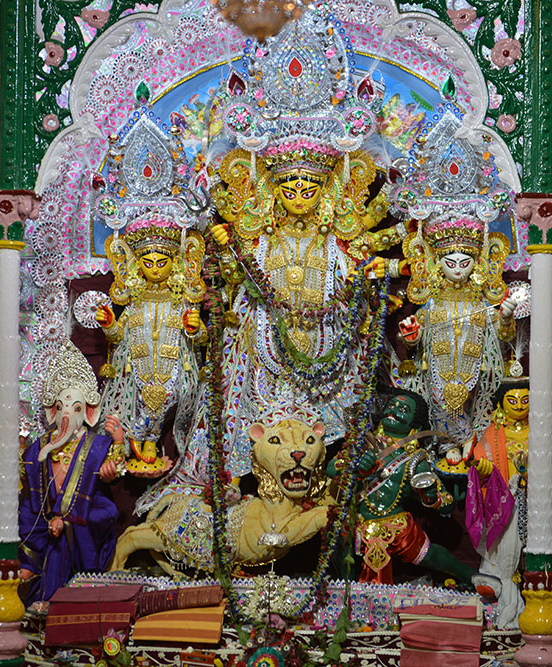 Pandals, or marquees, are set up in neighbourhood streets and corners, with large-scale idols of Maa Durga set up