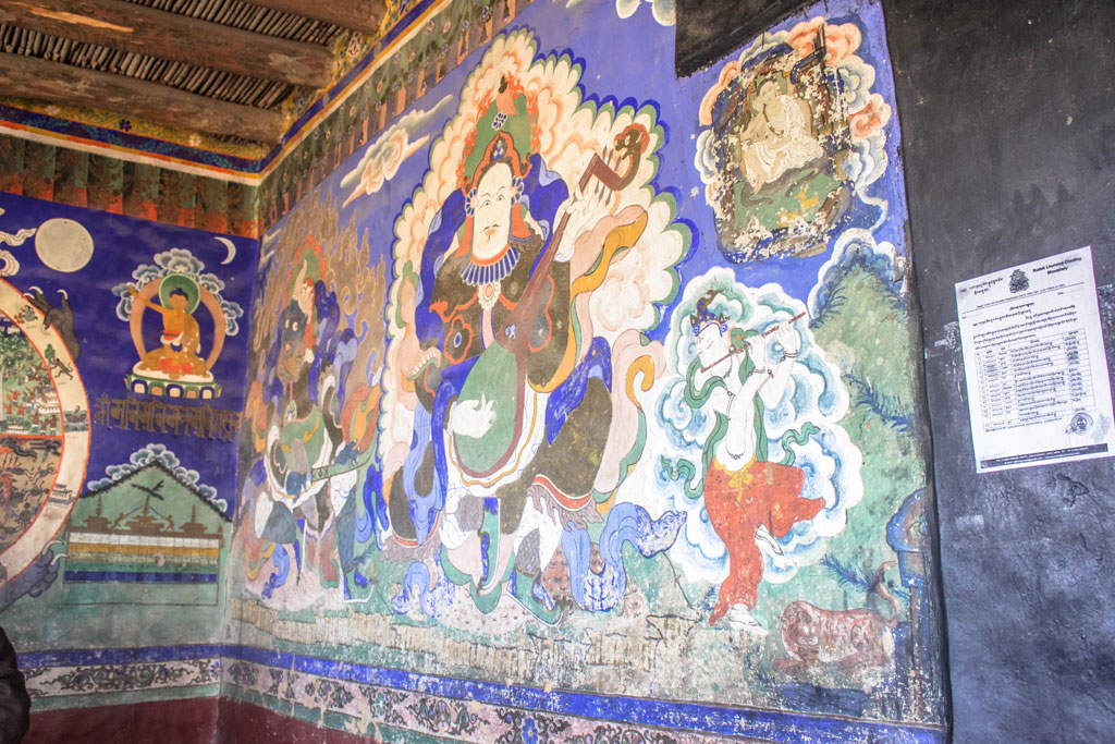 The wall paintings at the Thiksay Monastery