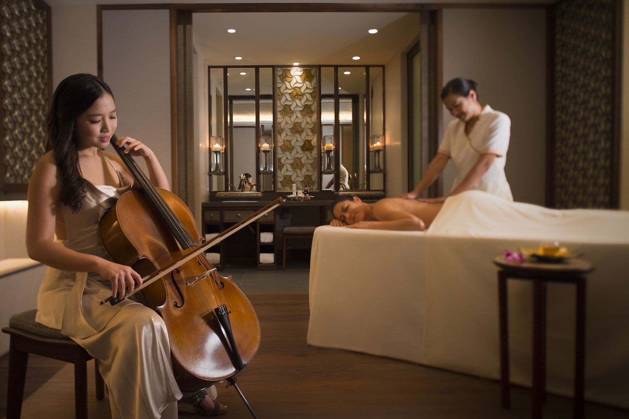 A private cellist during a massage at the Ritz Carlton